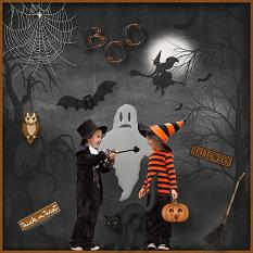 """BOO!"" layout using Haunted Halloween Collection Biggie"