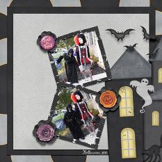 Digital scrapbooking layout, featuring Happy Haunting Collection Mini