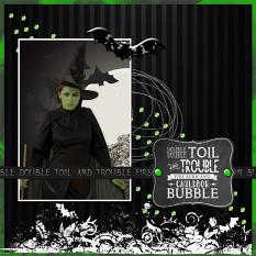"""Toil & Trouble"" digital layout by Jan Ransley using Bibbity Boppity Boo collection"