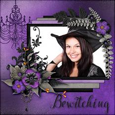 """Bewitching"" digital scrapbook layout by Laura Louie"
