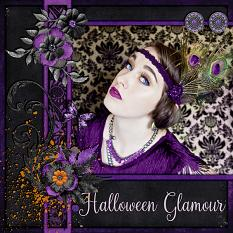"""Halloween Glamour"" digital scrapbook layout by Laura Louie"