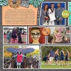 """October left side"" digital scrapbook layout features SSDLAT Scrap It Monthly Two Series 3"