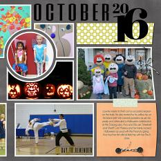 """October right side"" digital scrapbook layout features SSDLAT Scrap It Monthly Two Series 3"