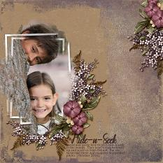 Hide-N-Seek scrapbooking layout using Scrap Simple Embellishment Templates:  Just A Little Love