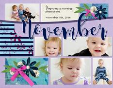 """November"" digital scrapbook layout features Value Pack: 8.5x22 Scrap It Monthly Two"