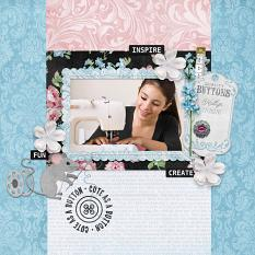 """Cute as a Button"" Digital Scrapbook Layout by Darryl Beers"