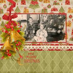 """1952 Vintage Christmas"" Digital Scrapbooking Layout By Judy Webster"