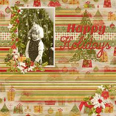 """Happy Holidays"" Digital Scrapbooking Layout By Cindy Rohrbough"