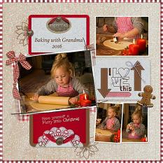 """Baking with Grandma"" digital scrapbook layout features Pocket Life: Country Christmas"