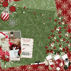 """Meeting Santa"" scrapbooking layout using Naughty or Nice Collection"