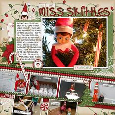 """Miss Skittles"" scrapbooking layout featuring Naughty or Nice Collection"