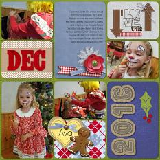 """December 2016"" digital scrapbook layout showcases Country Christmas Paper Mini"