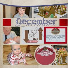 """December"" digital scrapbook layout features Value Pack: Country Christmas"