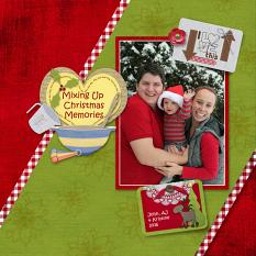 """Christmas Memories"" digital scrapbook layout features Value Pack: Country Christmas"
