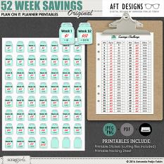 Plan On It: 52 Week Savings Plan #printable planner stickers and checklist | by AFT designs @ScrapGirls.com