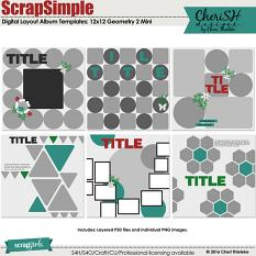 ScrapSimple Digital Layout Album Templates: 12x12 Geometry 2 Mini