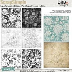 ScrapSimple Paper Templates: Distressed Floral Overlays by DRB Designs | ScrapGirls.com