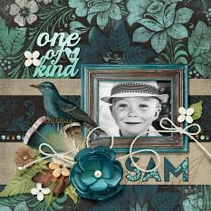 """One of a Kind"" digital scrapbook layout by Darryl Beers"
