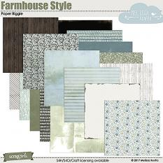 Farmhouse Style digital scrapbook papers, backgrounds