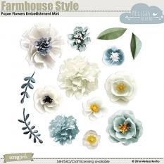 Farmhouse Style Paper Flowers Embellishment Mini