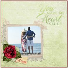 """You Make My Heart Smile"" digital layout using Letters From the Heart Collection by Jan Ransley"