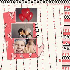 Valentine's Day layout using XOXO Digital Papers