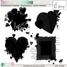 tender valentine clipping masks by d's design