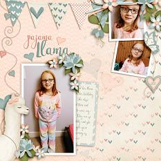 Pajama Llama digital scrapbooking kit featuring Llama Love Collection Mini