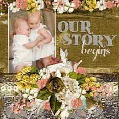 """""""Our Story Begins""""digital scrapbooking layout by Andrea Hutton"""