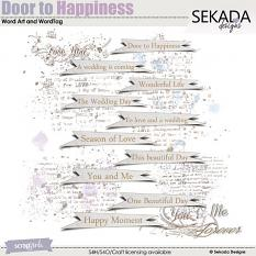 Door To Happiness Word Art and Word Tag