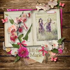 """Jill & Marie"" digital scrapbook layout by Darryl Beers"
