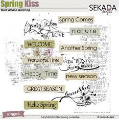 Spring Kiss Word Art and Word Tag