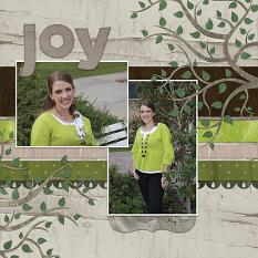 """Joy"" Digital Scrapbooking Layout by Cherise Oleson, using ScrapSimple Embellishment Templates: Branches and Leaves"