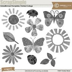 ScrapSimple Embellishement Templates: Painted Collage