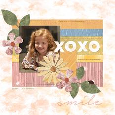 """XOXO"" Digital Scrapbooking Layout by Cherise Oleson, using ScrapSimple Paper Templates: Painted Collage, Set 1"