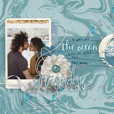 """Seaside Love"" digital scrapbooking layout idea by AFT Designs - Amanda Fraijo-Tobin @ScrapGirls.com #scrapbook #templates #layout"