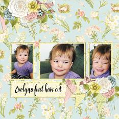 """Evelyn's first hair cut"" digital scrapbook layout by Andrea Hutton"