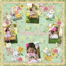 """Spring Day"" Digital Scrapbooking Layout by Andrea Hutton."