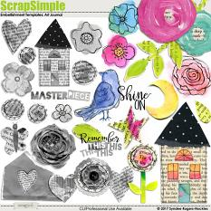 ScrapSimple Embellishment Templates: Art Journal Page Builders
