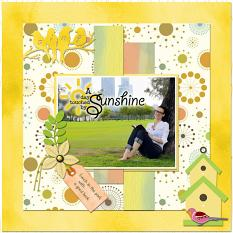 """A Day Touched by Sunshine"" digital layout by Jan Ransley using the Spring Tweets Collection"