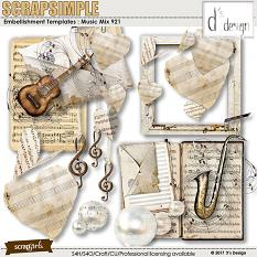 Music Mix 921 by D's Design - Embellishment Templates