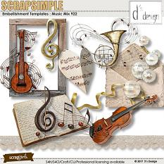 Music Mix 922 by D's Design - Embellishment Templates