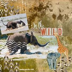 """Into The Wild"" layout using ScrapSimple Brush Set:  Spattered and Grungy"