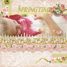 """Springtime"" digital scrapbook layout by Andrea Hutton uses:"