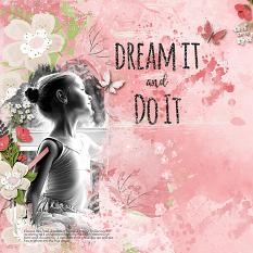 """Dream It and Do It"" digital scrapbooking layout using Brush Set:  Pep Talk"
