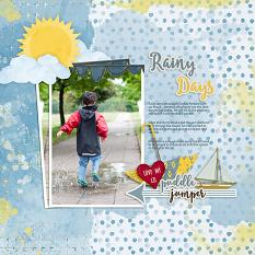 """Puddle Jumper"" digital scrapbooking layout using Brush Set:  Pep Talk"