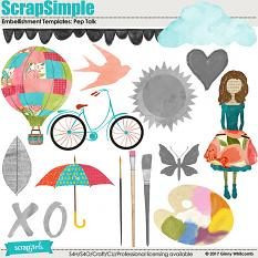 ScrapSimple Embellishment Templates:  Pep Talk