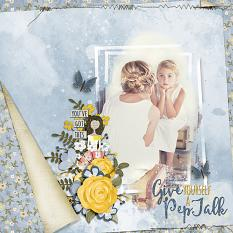 """Pep Talk"" digital scrapbooking layout using ScrapSimple Embellishment Template Biggie:  Pep Talk"