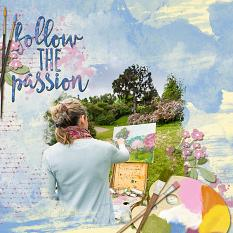 """Follow The Passion"" digital scrapbooking layout featuring ScrapSimple Embellishment Template Biggie:  Pep Talk"