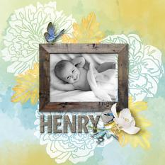 """Henry"" digital scrapbook layout by Darryl Beers"